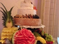 Beautiful Gourmet wedding cheese cake with carved fresh fruit