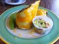 Delicious Pork loin Burrito covered in cheese