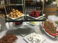 Variety of different platters for a chocolate fondue