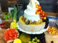 Beautiful Wedding cheese cake made with 3 layers of gourmet cheese & surrounded with fresh fruit